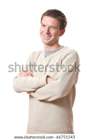 portrait of smiling student standing isolated over white background - stock photo