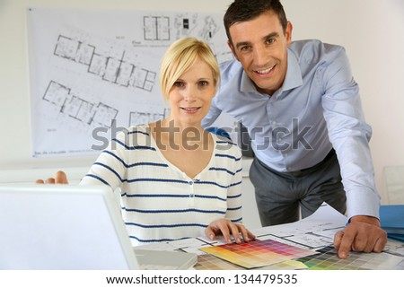 Portrait of smiling successful architects
