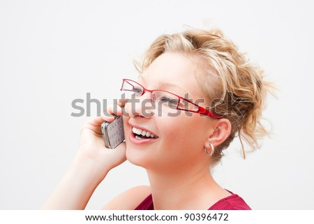 Portrait of smiling woman on the phone. - stock photo