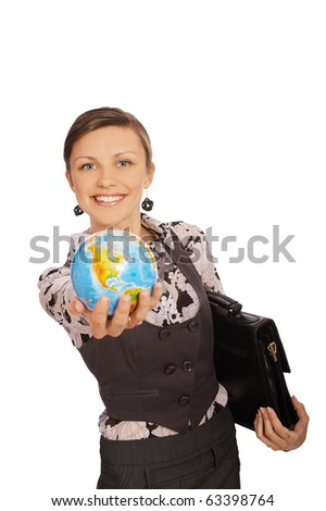 portrait of smiling woman teacher with globe in extentended hand on white