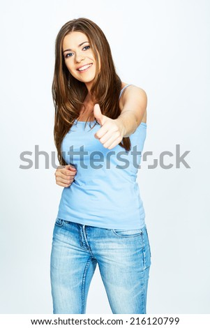 portrait of smiling woman . thumb up .isolated over white background . - stock photo