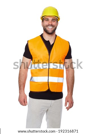 Portrait of smiling worker in a reflective vest isolated on white background  - stock photo