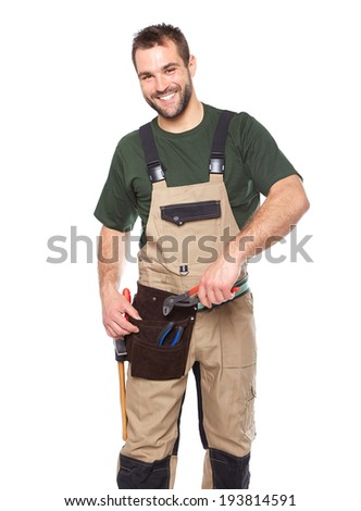 Portrait of smiling worker in brown uniform with tools isolated on white background  - stock photo