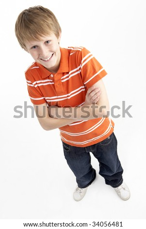 Portrait Of Smiling 12 Year Old Boy - stock photo