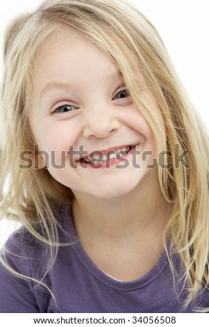 Portrait Of Smiling 4 Year Old Girl - stock photo