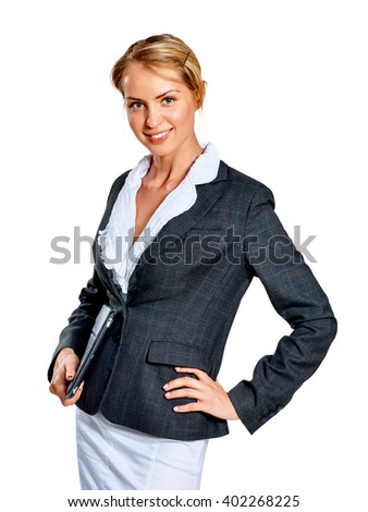 Portrait of smiling young business woman. Isolated on white background. - stock photo
