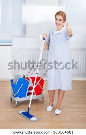 Portrait Of Smiling Young Female Maid Holding Mop - stock photo