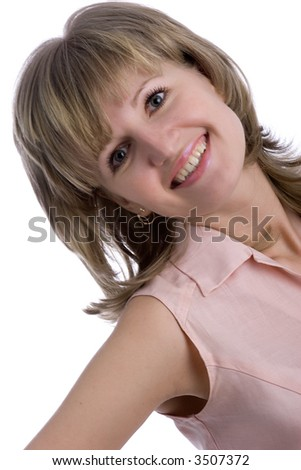 portrait of smiling young girl, isolated on white - stock photo
