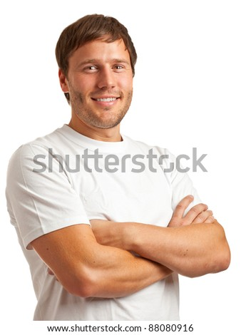 Portrait of smiling young man in a white t-shirt isolated on white background - stock photo