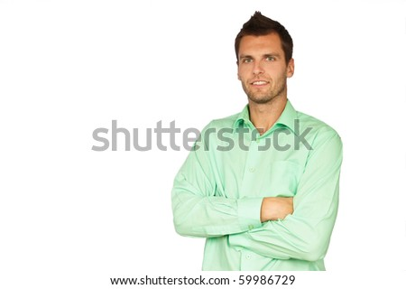 Portrait of smiling young man on the white backgroung. You can write text on left side. - stock photo