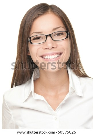 Portrait of smiling young professional woman wearing glasses. Closeup portrait of beautiful happy Chinese Asian / Caucasian female model. - stock photo
