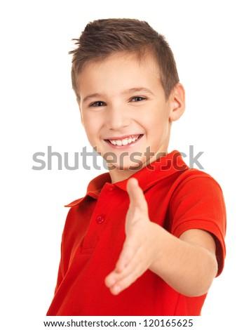 Portrait of smilingboy showing handshake gesture, isolated over white background - stock photo