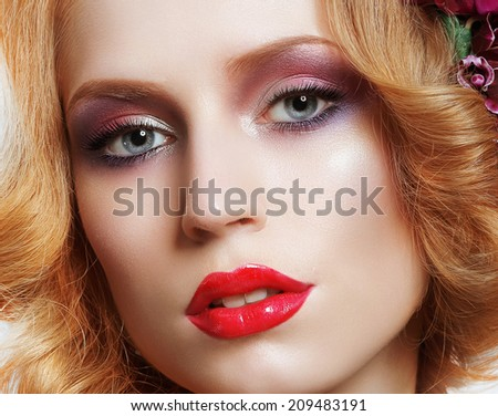 Portrait of Snazzy Enchanting Woman with Bright Make-up - stock photo