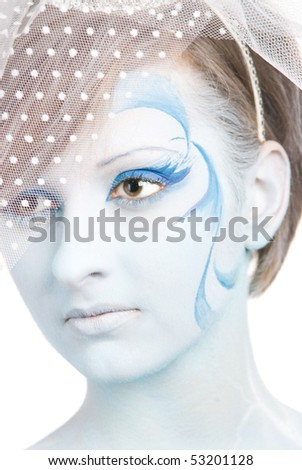 portrait of snow queen on white background
