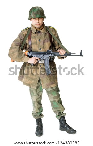 Portrait of soldier with submachine gun isolated on white background