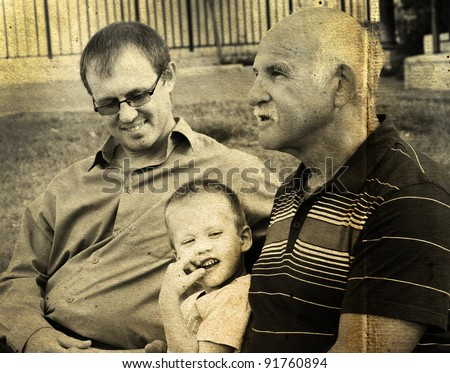 portrait of son, father and grandfather. Photo in old color image style. - stock photo