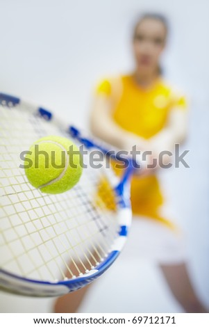 portrait of sporty girl tennis player with racket - stock photo