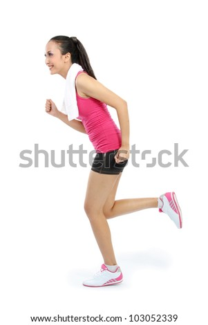 Portrait of sporty healthy young woman running isolated on white background - stock photo