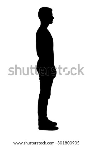 Portrait of standing boy's silhouette.