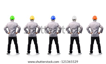 portrait of standing engineer back view isolated on white background, ( Clipping Paths for design work ) - stock photo