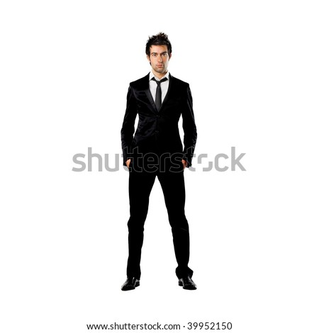 portrait of standing man in formal suit - stock photo