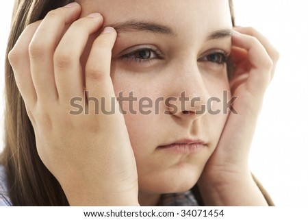 Portrait Of Stressed Young Girl - stock photo