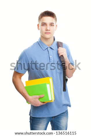 Portrait of student with books and backpack isolated on white background