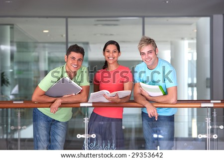 Portrait of study group - stock photo