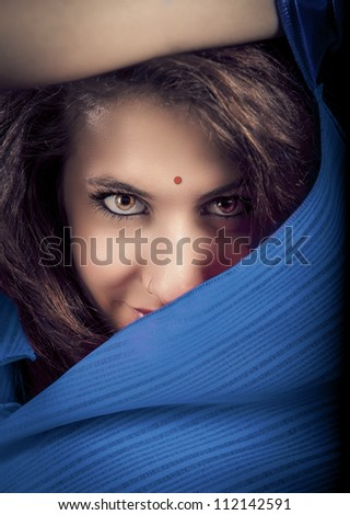 Portrait of Stunning brunette with beautiful eyes, fashion look - stock photo