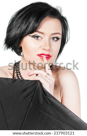 Portrait of stylish young woman isolated on white - stock photo