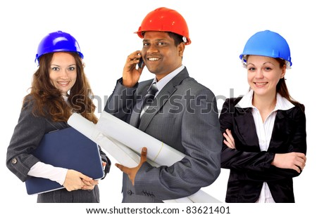 Portrait of successful architect team against a white background - stock photo