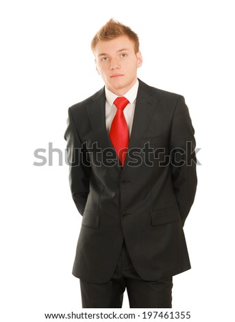 Portrait of successful business man, isolated on white background - stock photo