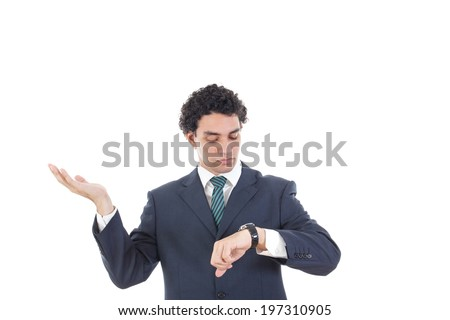 Portrait of successful business man looking at his wrist watch, Man in suit knowing time is money, Confident businessman checking time - stock photo