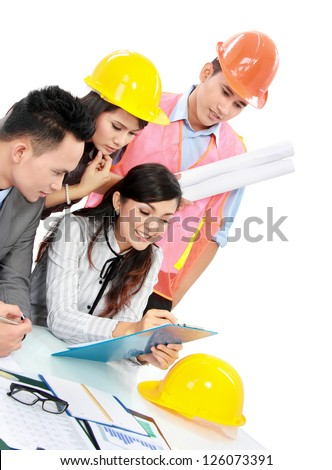 Portrait of successful business people having a discussion with contractors isolated on white background - stock photo