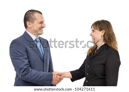Portrait of successful business people shaking hands on a deal on a white background - stock photo