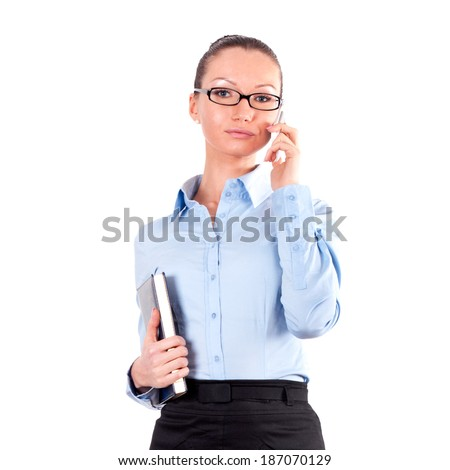 Portrait of successful business woman, isolated on white background  - stock photo