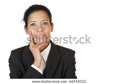 Portrait of successful business woman.  Isolated on white background. - stock photo