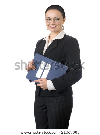 Portrait of  successful business woman on white background - stock photo