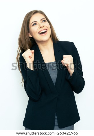 Portrait of successful business woman. White background. Black business suit. Success emotion. - stock photo