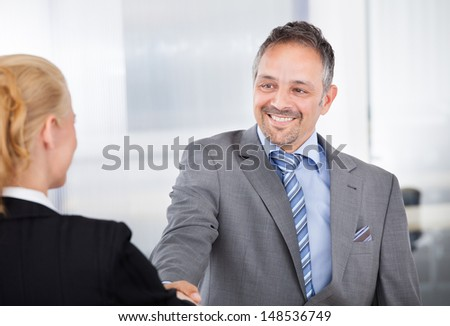 Portrait of successful businessman at the interview shaking hands - stock photo