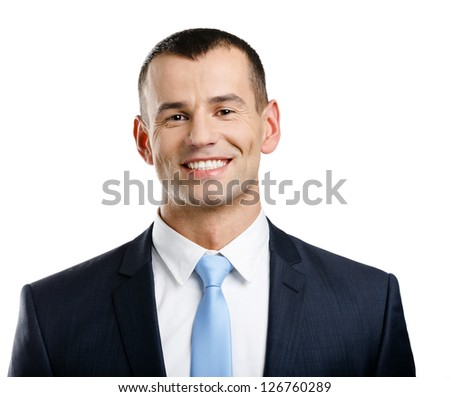 Portrait of successful businessman, isolated on white