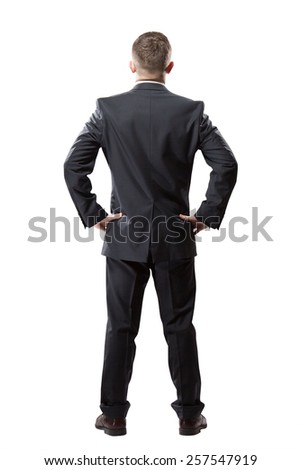 Portrait of successful businessman. Isolated on white. Back view - stock photo