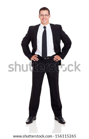 portrait of successful businessman standing on white background - stock photo