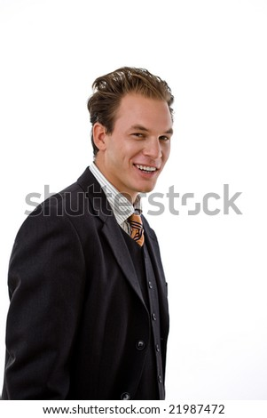Portrait of successful businessman, white background.