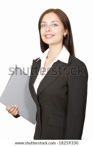 Portrait of successful businesswoman holding the folder - stock photo