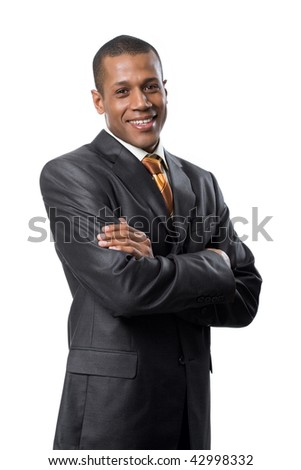 Portrait of successful professional wearing black suit and smiling - stock photo