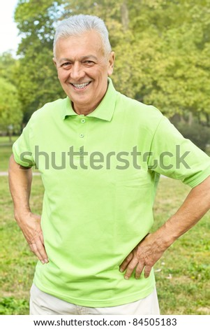 Portrait of successful senior man outdoors. - stock photo