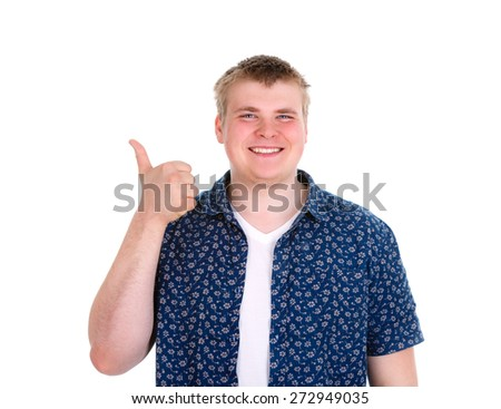 Portrait of successful, smiling, happy man, student, handsome guy giving thumbs up, isolated on white background