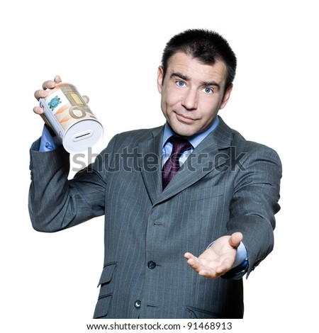 Portrait of sullen  businessman with an empty  money box  in studio on isolated white background - stock photo