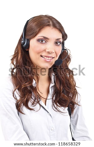 Portrait of support phone operator in headset, isolated on white background - stock photo